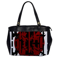 Red, black and white decorative abstraction Office Handbags