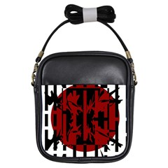 Red, black and white decorative abstraction Girls Sling Bags