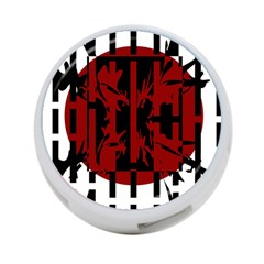 Red, black and white decorative abstraction 4-Port USB Hub (One Side)