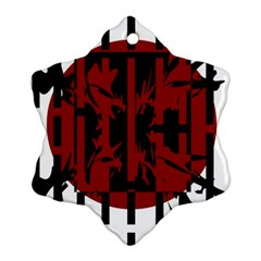 Red, black and white decorative abstraction Ornament (Snowflake)