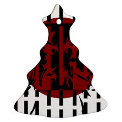 Red, black and white decorative abstraction Christmas Tree Ornament (2 Sides)