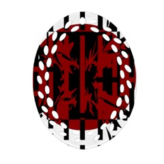 Red, black and white decorative abstraction Oval Filigree Ornament (2-Side)