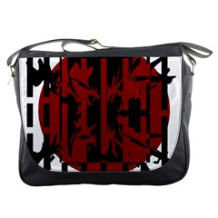 Red, black and white decorative abstraction Messenger Bags