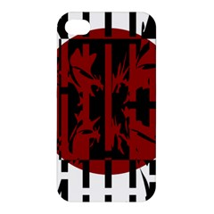 Red, black and white decorative abstraction Apple iPhone 4/4S Premium Hardshell Case