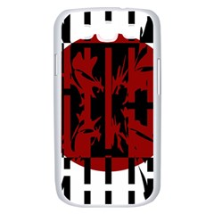 Red, black and white decorative abstraction Samsung Galaxy S III Case (White)