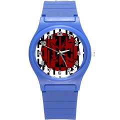 Red, black and white decorative abstraction Round Plastic Sport Watch (S)