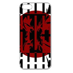 Red, black and white decorative abstraction Apple Seamless iPhone 5 Case (Clear)