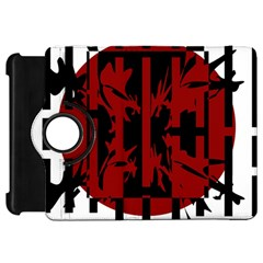 Red, black and white decorative abstraction Kindle Fire HD Flip 360 Case