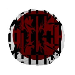 Red, black and white decorative abstraction Standard 15  Premium Round Cushions