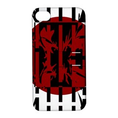 Red, Black And White Decorative Abstraction Apple Iphone 4/4s Hardshell Case With Stand