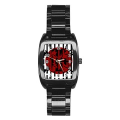 Red, black and white decorative abstraction Stainless Steel Barrel Watch