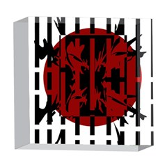 Red, black and white decorative abstraction 5  x 5  Acrylic Photo Blocks