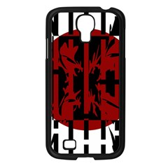 Red, black and white decorative abstraction Samsung Galaxy S4 I9500/ I9505 Case (Black)