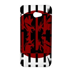 Red, black and white decorative abstraction HTC Butterfly S/HTC 9060 Hardshell Case