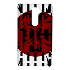 Red, black and white decorative abstraction LG G2