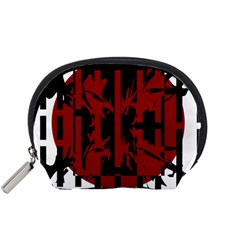Red, black and white decorative abstraction Accessory Pouches (Small)