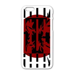 Red, Black And White Decorative Abstraction Apple Iphone 6/6s White Enamel Case