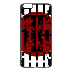 Red, Black And White Decorative Abstraction Apple Iphone 6 Plus/6s Plus Black Enamel Case