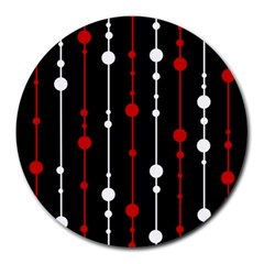 Red black and white pattern Round Mousepads