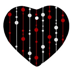 Red black and white pattern Ornament (Heart)