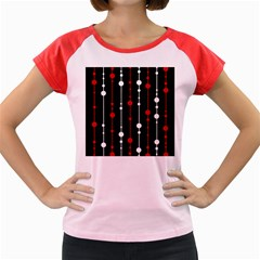 Red black and white pattern Women s Cap Sleeve T-Shirt