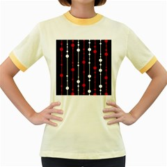 Red black and white pattern Women s Fitted Ringer T-Shirts
