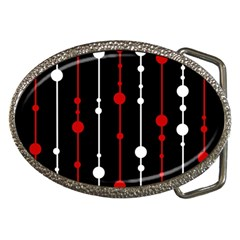 Red black and white pattern Belt Buckles