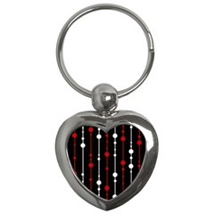 Red black and white pattern Key Chains (Heart)