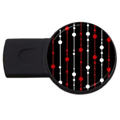 Red black and white pattern USB Flash Drive Round (1 GB)