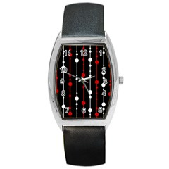 Red black and white pattern Barrel Style Metal Watch