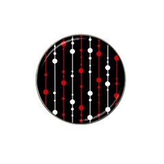 Red black and white pattern Hat Clip Ball Marker (4 pack)