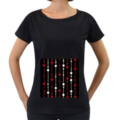 Red black and white pattern Women s Loose-Fit T-Shirt (Black)