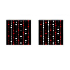 Red black and white pattern Cufflinks (Square)