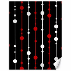 Red black and white pattern Canvas 18  x 24