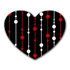 Red black and white pattern Heart Mousepads