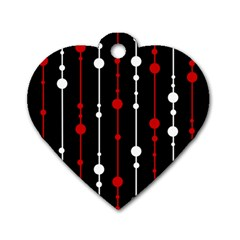 Red black and white pattern Dog Tag Heart (One Side)