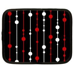Red black and white pattern Netbook Case (Large)