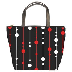 Red Black And White Pattern Bucket Bags