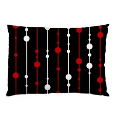 Red black and white pattern Pillow Case