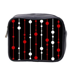 Red black and white pattern Mini Toiletries Bag 2-Side