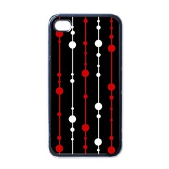 Red black and white pattern Apple iPhone 4 Case (Black)