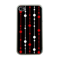 Red black and white pattern Apple iPhone 4 Case (Clear)