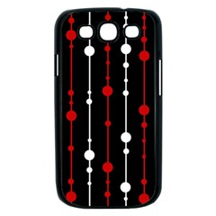 Red black and white pattern Samsung Galaxy S III Case (Black)