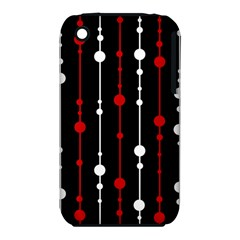 Red Black And White Pattern Apple Iphone 3g/3gs Hardshell Case (pc+silicone)