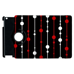 Red black and white pattern Apple iPad 2 Flip 360 Case
