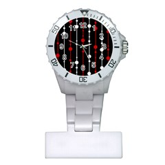 Red black and white pattern Plastic Nurses Watch