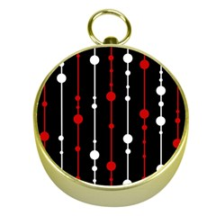 Red black and white pattern Gold Compasses