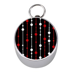 Red black and white pattern Mini Silver Compasses