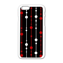 Red black and white pattern Apple iPhone 6/6S White Enamel Case