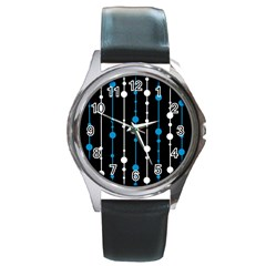 Blue, white and black pattern Round Metal Watch